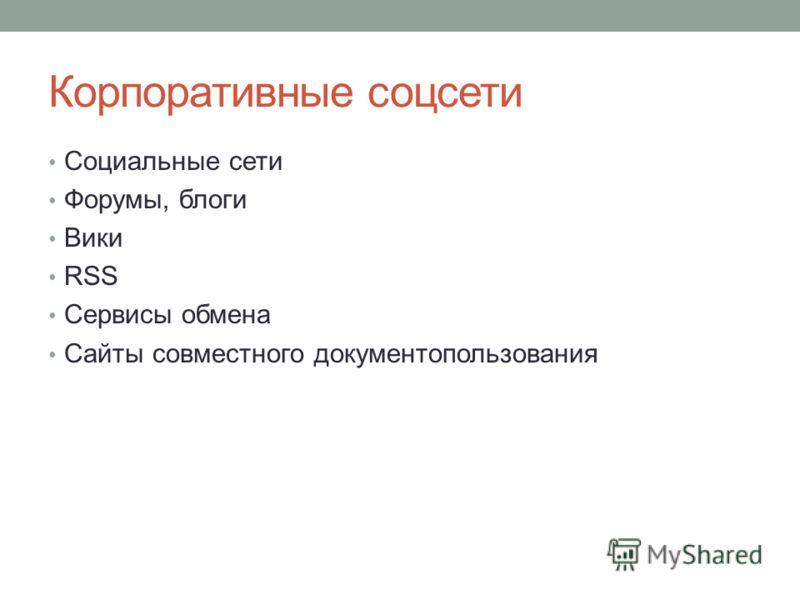 Корпоративные соцсети Социальные сети Форумы, блоги Вики RSS Сервисы обмена Сайты совместного документопользования
