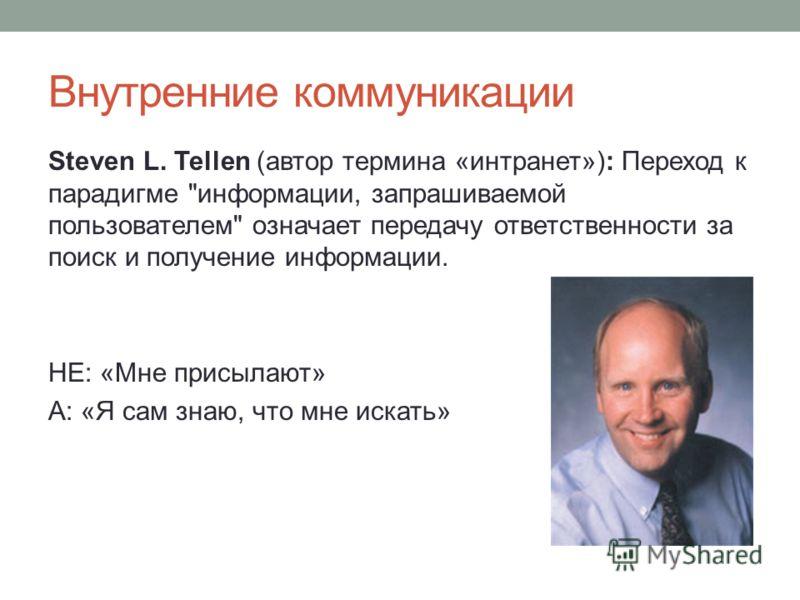Внутренние коммуникации Steven L. Tellen (автор термина «интранет»): Переход к парадигме информации, запрашиваемой пользователем означает передачу ответственности за поиск и получение информации. НЕ: «Мне присылают» А: «Я сам знаю, что мне искать»