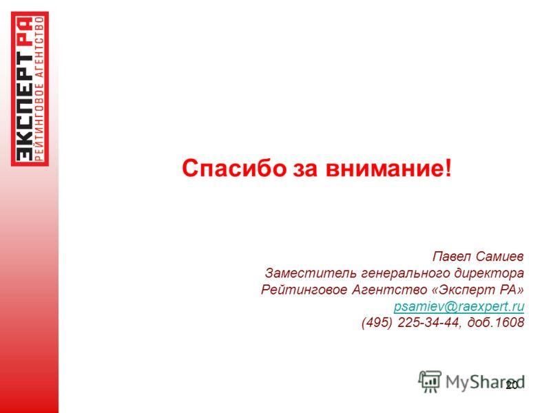 20 Спасибо за внимание! Павел Самиев Заместитель генерального директора Рейтинговое Агентство «Эксперт РА» psamiev@raexpert.ru@raexpert.ru (495) 225-34-44, доб.1608