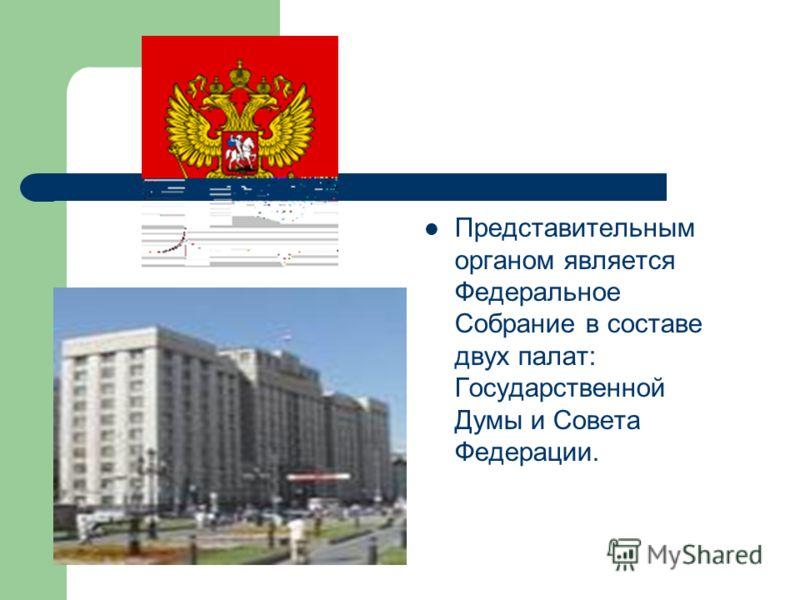 Представительным органом является Федеральное Собрание в составе двух палат: Государственной Думы и Совета Федерации.