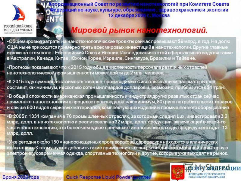 Мировой рынок нанотехнологий. Координационный Совет по развитию нанотехнологий при Комитете Совета Федераций по науке, культуре, образованию, здравоохранению и экологии 12 декабря 2006 г., Москва Quick Response Liquid Powder дисплейБроня 2020 года Об
