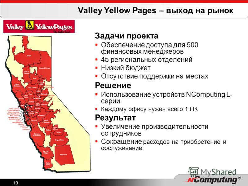 13 Valley Yellow Pages – выход на рынок Задачи проекта Обеспечение доступа для 500 финансовых менеджеров 45 региональных отделений Низкий бюджет Отсутствие поддержки на местах Решение Использование устройств NComputing L- серии Каждому офису нужен вс