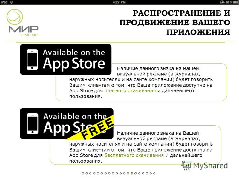 РАСПРОСТРАНЕНИЕ И ПРОДВИЖЕНИЕ ВАШЕГО ПРИЛОЖЕНИЯ Наличие данного знака на Вашей визуальной рекламе (в журналах, наружных носителях и на сайте компании) будет говорить Вашим клиентам о том, что Ваше приложение доступно на App Store для платного скачива