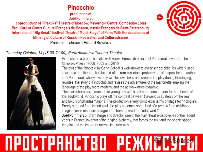 Pinocchio production of Joël Pommerat coproduction of Praktika Theatre of Moscow, Meyerhold Centre, Compagnie Louis Brouillard et Centre Culturel Français de Moscou, Institut Français de Saint-Petersbourg, International Big Break festival, Theatre Mo