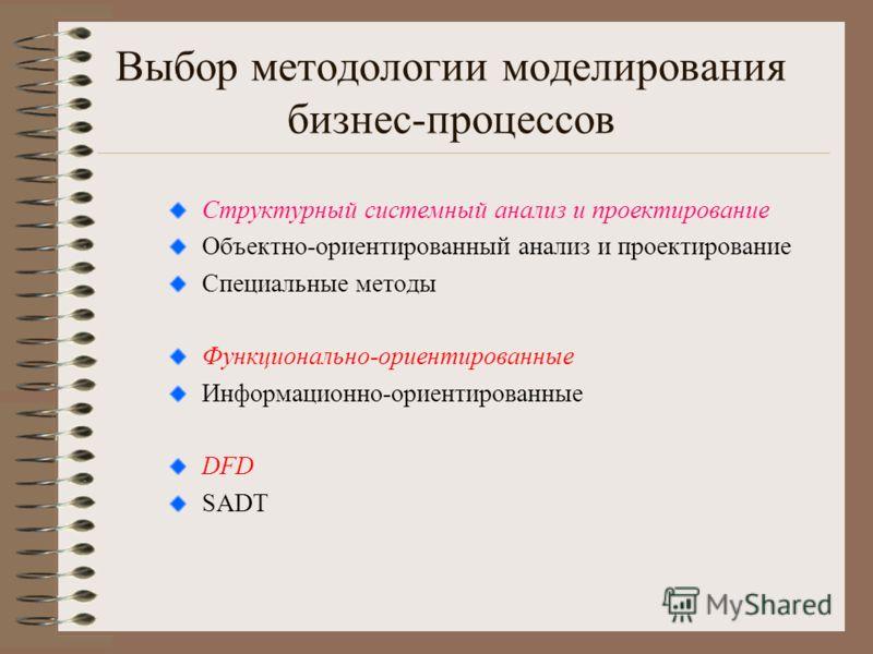 Выбор методологии моделирования бизнес-процессов Структурный системный анализ и проектирование Объектно-ориентированный анализ и проектирование Специальные методы Функционально-ориентированные Информационно-ориентированные DFD SADT