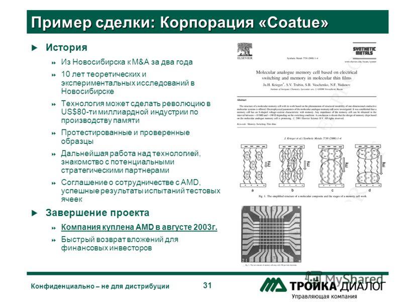 31 Конфиденциально – не для дистрибуции Пример сделки: Корпорация «Coatue» История Из Новосибирска к M&A за два года 10 лет теоретических и экспериментальных исследований в Новосибирске Технология может сделать революцию в US$80-ти миллиардной индуст