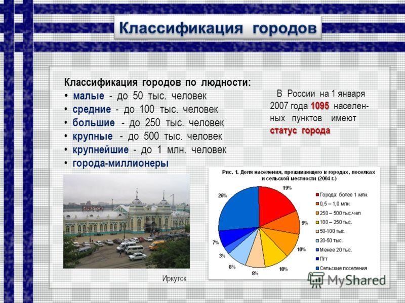 Классификация городов по людности: малые - до 50 тыс. человек средние - до 100 тыс. человек большие - до 250 тыс. человек крупные - до 500 тыс. человек крупнейшие - до 1 млн. человек города-миллионеры В России на 1 января 1095 2007 года 1095 населен-