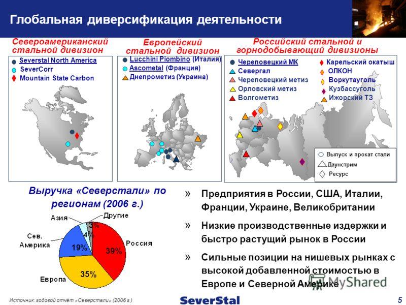 5 Глобальная диверсификация деятельности Российский стальной и горнодобывающий дивизионы Североамериканский стальной дивизион Европейский стальной дивизион Выручка «Северстали» по регионам (2006 г.) Источник: годовой отчёт «Северстали» (2006 г.) Lucc