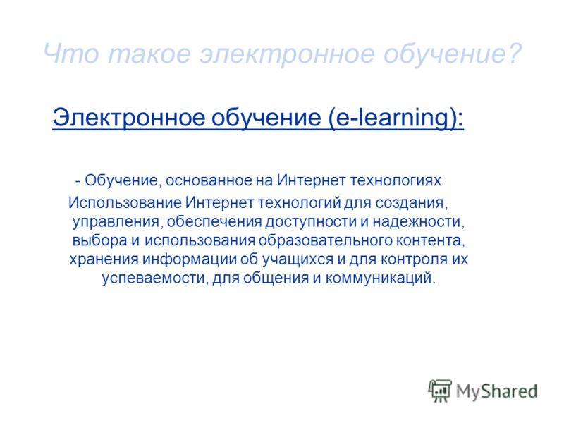 Что такое электронное обучение? Электронное обучение (e-learning): - Обучение, основанное на Интернет технологиях Использование Интернет технологий для создания, управления, обеспечения доступности и надежности, выбора и использования образовательног