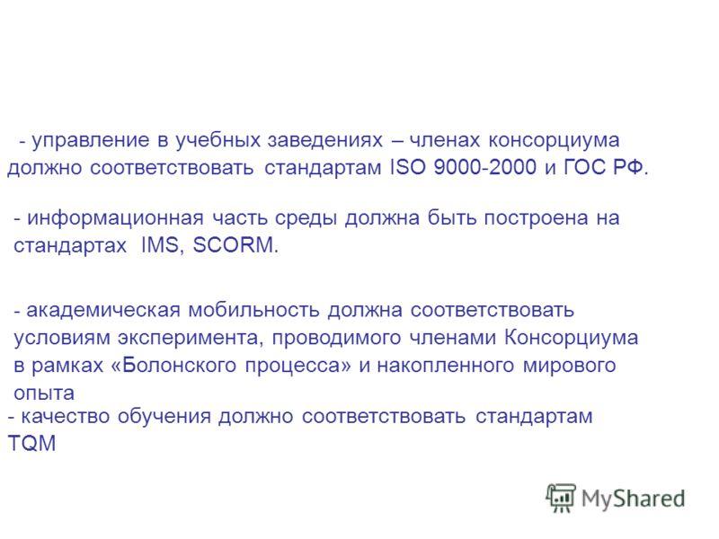 I I. Базовые принципы создания среды: - управление в учебных заведениях – членах консорциума должно соответствовать стандартам ISO 9000-2000 и ГОС РФ. - информационная часть среды должна быть построена на стандартах IMS, SCORM. - академическая мобиль