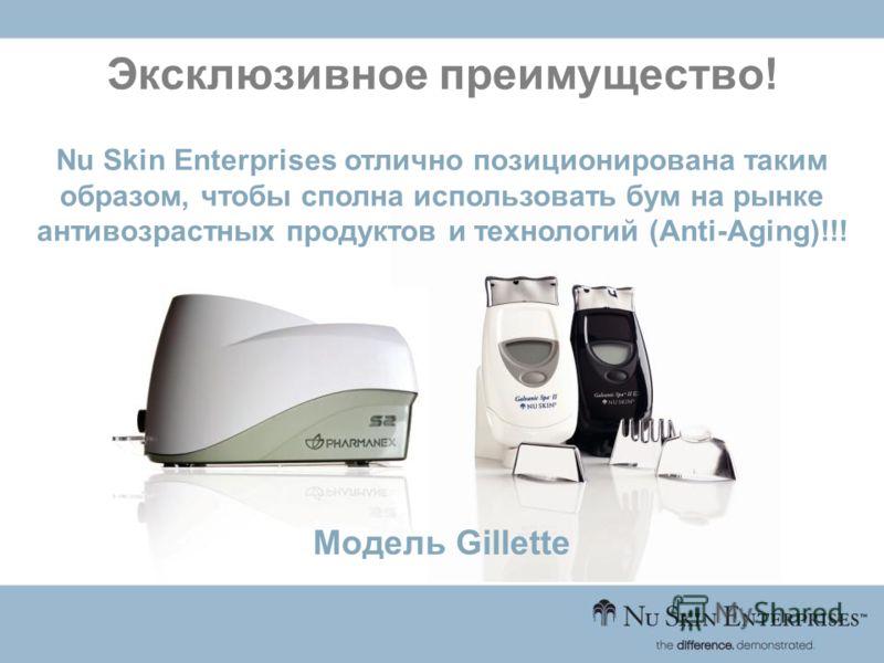 Эксклюзивное преимущество! Nu Skin Enterprises отлично позиционирована таким образом, чтобы сполна использовать бум на рынке антивозрастных продуктов и технологий (Anti-Aging)!!! Модель Gillette