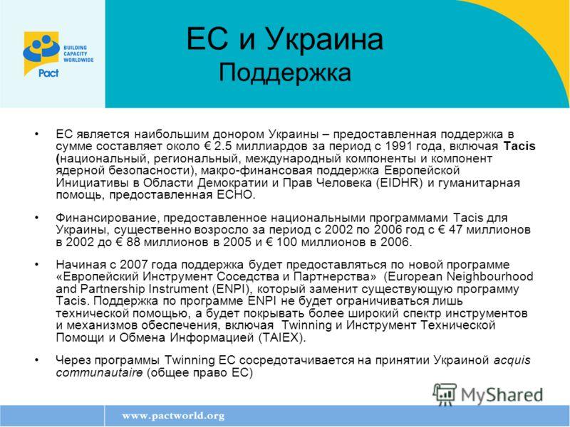 ЕС и Украина Поддержка ЕС является наибольшим донором Украины – предоставленная поддержка в сумме составляет около 2.5 миллиардов за период с 1991 года, включая Tacis (национальный, региональный, международный компоненты и компонент ядерной безопасно