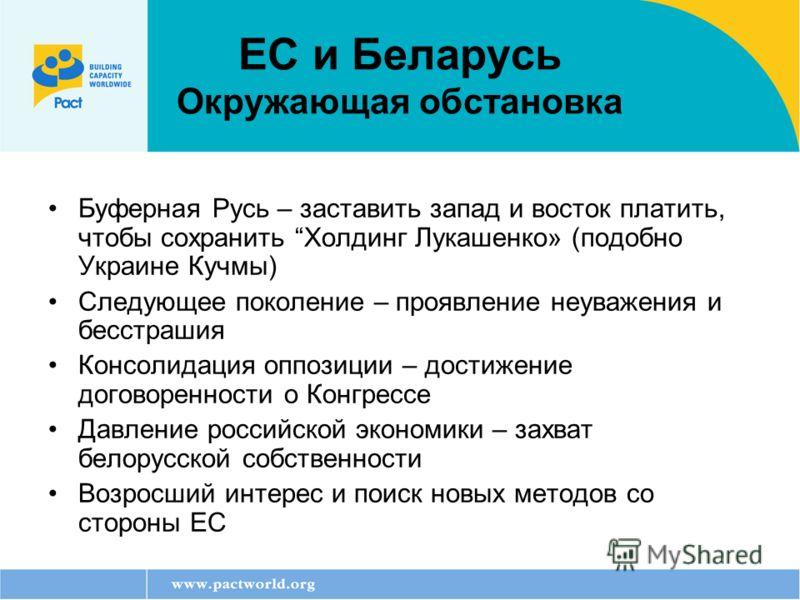 ЕС и Беларусь Окружающая обстановка Буферная Русь – заставить запад и восток платить, чтобы сохранить Холдинг Лукашенко» (подобно Украине Кучмы) Следующее поколение – проявление неуважения и бесстрашия Консолидация оппозиции – достижение договореннос