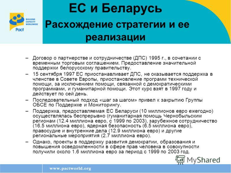 ЕС и Беларусь Расхождение стратегии и ее реализации –Договор о партнерстве и сотрудничестве (ДПС) 1995 г., в сочетании с временным торговым соглашением. Предоставление значительной поддержки белорусскому правительству. –15 сентября 1997 ЕС приостанав