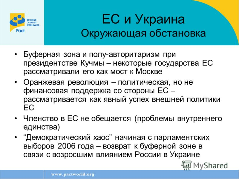 Буферная зона и полу-авторитаризм при президентстве Кучмы – некоторые государства ЕС рассматривали его как мост к Москве Оранжевая революция – политическая, но не финансовая поддержка со стороны ЕС – рассматривается как явный успех внешней политики Е