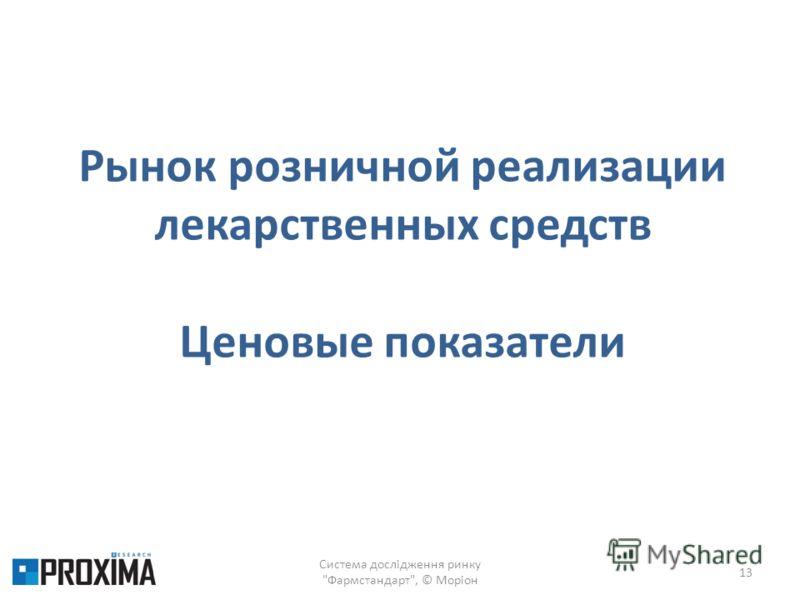 Система дослідження ринку Фармстандарт, © Моріон 13 Рынок розничной реализации лекарственных средств Ценовые показатели