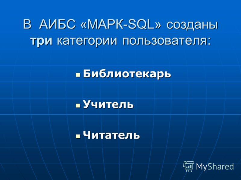В АИБС «MАРК-SQL» созданы три категории пользователя: Библиотекарь Библиотекарь Учитель Учитель Читатель Читатель