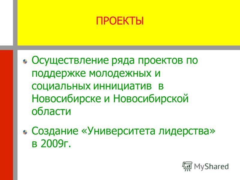 ПРОЕКТЫ Осуществление ряда проектов по поддержке молодежных и социальных иннициатив в Новосибирске и Новосибирской области Создание «Университета лидерства» в 2009г.