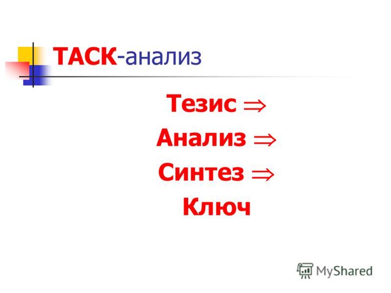ТАСК-анализ Тезис Анализ Синтез Ключ