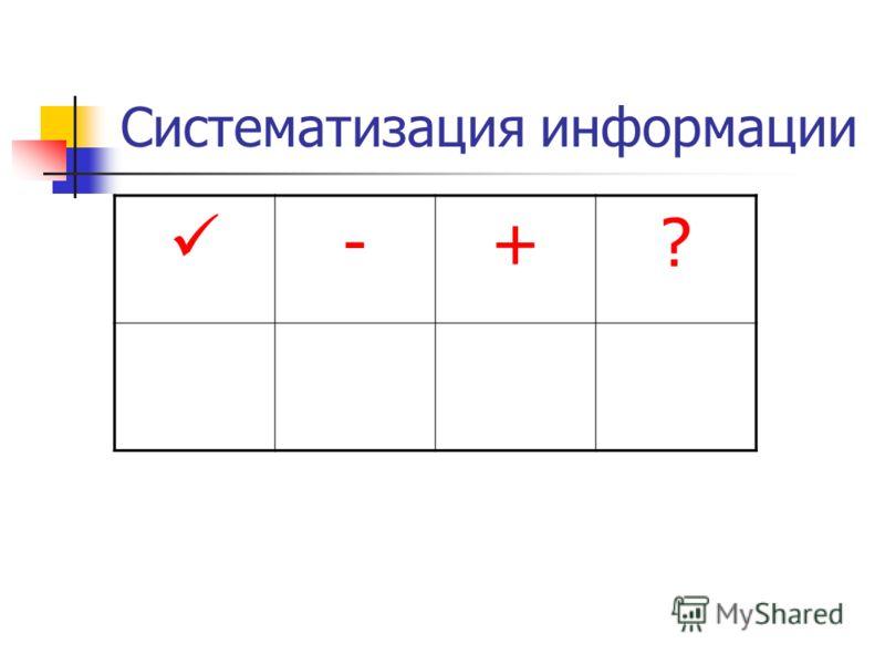 Систематизация информации -+?