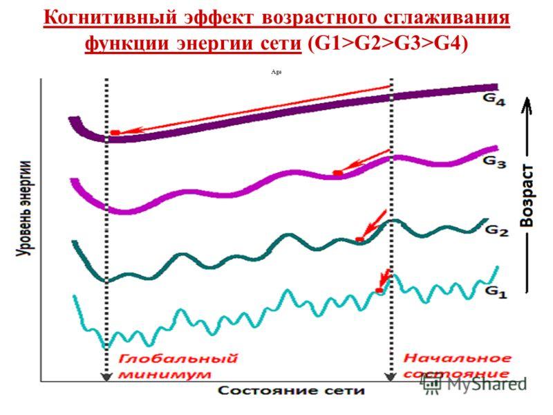 Когнитивный эффект возрастного сглаживания функции энергии сети (G1>G2>G3>G4) Age