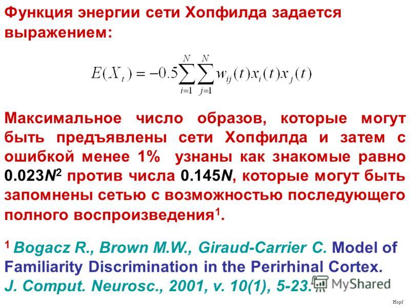 1 Bogacz R., Brown M.W., Giraud-Carrier C. Model of Familiarity Discrimination in the Perirhinal Cortex. J. Comput. Neurosc., 2001, v. 10(1), 5-23. Hopf Функция энергии сети Хопфилда задается выражением: Максимальное число образов, которые могут быть