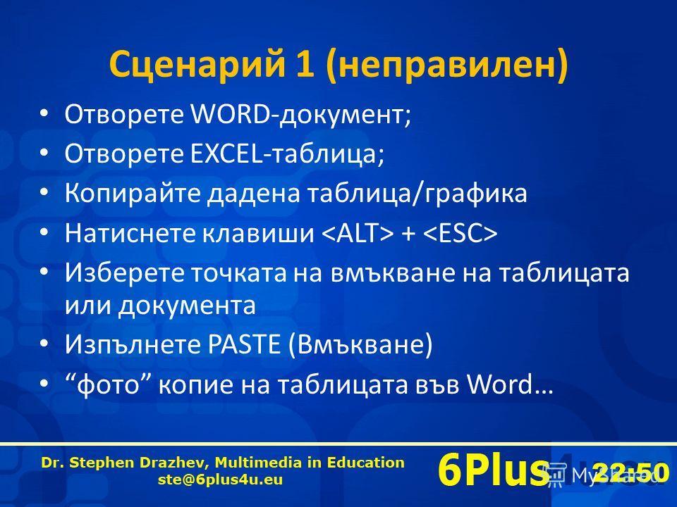 22:50 Сценарий 1 (неправилен) Отворете WORD-документ; Отворете EXCEL-таблица; Копирайте дадена таблица/графика Натиснете клавиши + Изберете точката на вмъкване на таблицата или документа Изпълнете PASTE (Вмъкване) фото копие на таблицата във Word…
