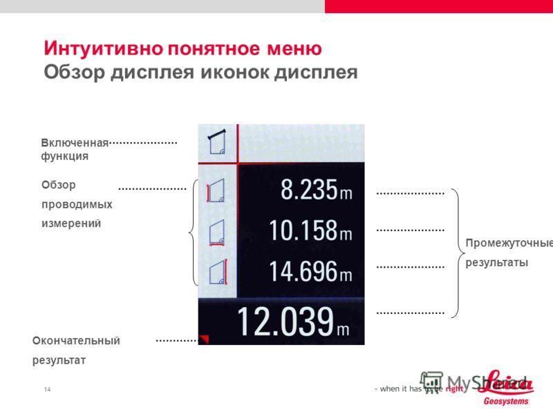 14 Интуитивно понятное меню Обзор дисплея иконок дисплея Включенная функция Обзор проводимых измерений Окончательный результат Промежуточные результаты