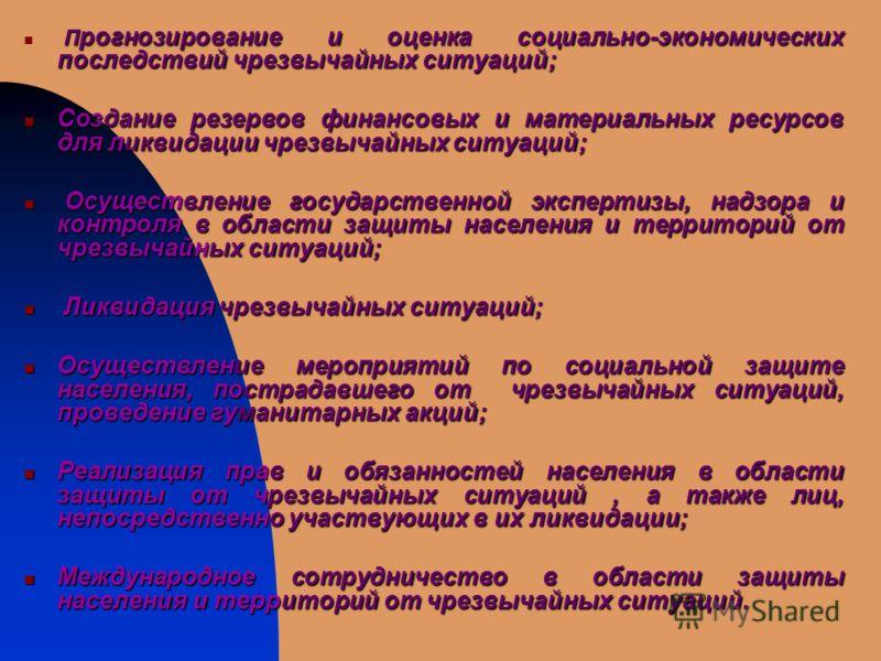 П рогнозирование и оценка социально-экономических последствий чрезвычайных ситуаций; Создание резервов финансовых и материальных ресурсов для ликвидации чрезвычайных ситуаций; Создание резервов финансовых и материальных ресурсов для ликвидации чрезвы