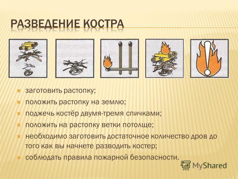 заготовить растопку; положить растопку на землю; поджечь костёр двумя-тремя спичками; положить на растопку ветки потолще; необходимо заготовить достаточное количество дров до того как вы начнете разводить костер; соблюдать правила пожарной безопаснос