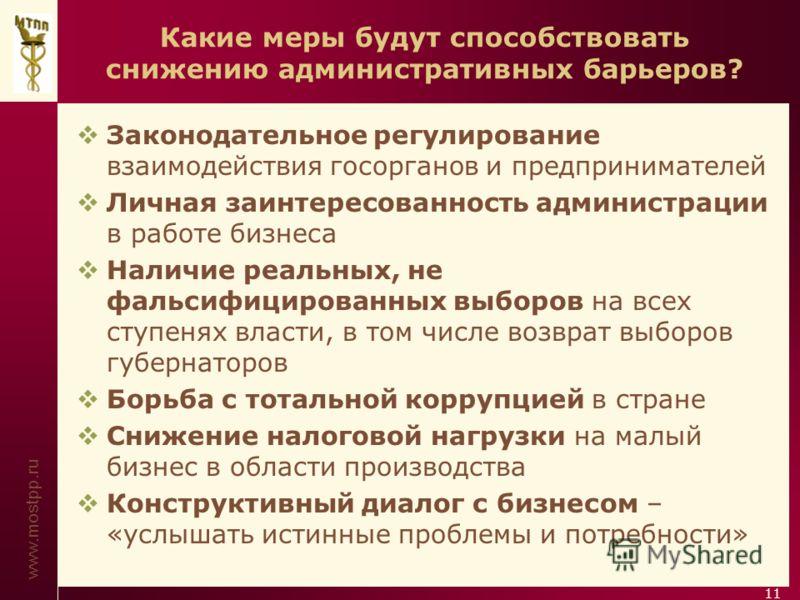 www.mostpp.ru 11 Какие меры будут способствовать снижению административных барьеров? Законодательное регулирование взаимодействия госорганов и предпринимателей Личная заинтересованность администрации в работе бизнеса Наличие реальных, не фальсифициро