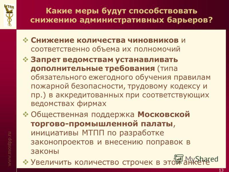 www.mostpp.ru 13 Какие меры будут способствовать снижению административных барьеров? Снижение количества чиновников и соответственно объема их полномочий Запрет ведомствам устанавливать дополнительные требования (типа обязательного ежегодного обучени