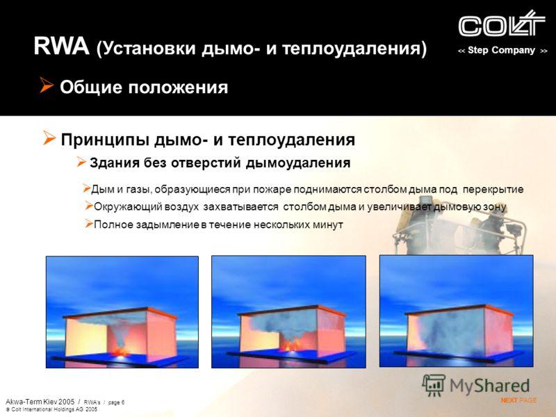 > Akwa-Term Kiev 2005 / RWAs / page 6 Colt International Holdings AG 2005 RWA (Установки дымо- и теплоудаления) Общие положения Принципы дымо- и теплоудаления Дым и газы, образующиеся при пожаре поднимаются столбом дыма под перекрытие NEXTNEXT PAGE О