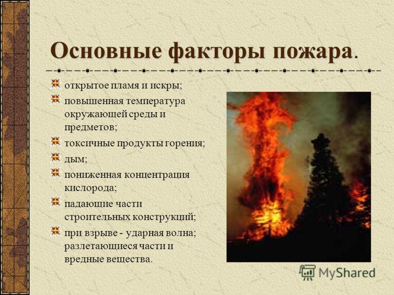 Основные факторы пожара Основные факторы пожара. открытое пламя и искры; повышенная температура окружающей среды и предметов; токсичные продукты горения; дым; пониженная концентрация кислорода; падающие части строительных конструкций; при взрыве - уд
