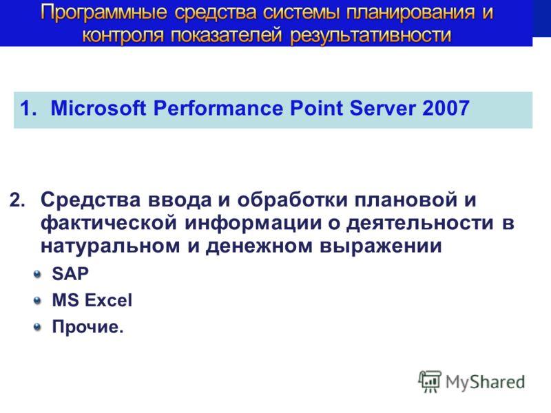 1.Microsoft Performance Point Server 2007 2. Средства ввода и обработки плановой и фактической информации о деятельности в натуральном и денежном выражении SAP MS Excel Прочие.