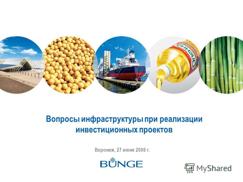 Вопросы инфраструктуры при реализации инвестиционных проектов Воронеж, 27 июня 2008 г.