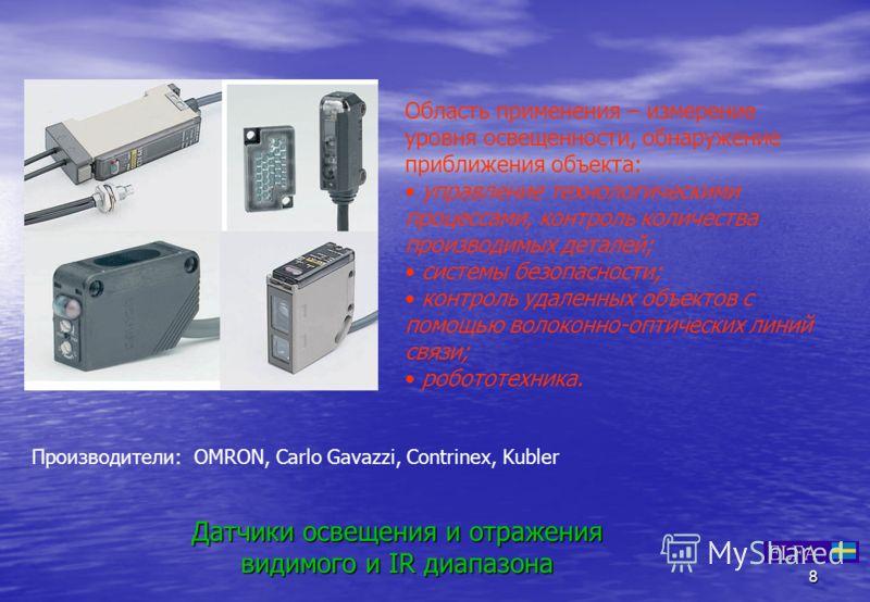 8 Датчики освещения и отражения видимого и IR диапазона Производители: OMRON, Carlo Gavazzi, Contrinex, Kubler Область применения – измерение уровня освещенности, обнаружение приближения объекта: управление технологическими процессами, контроль колич