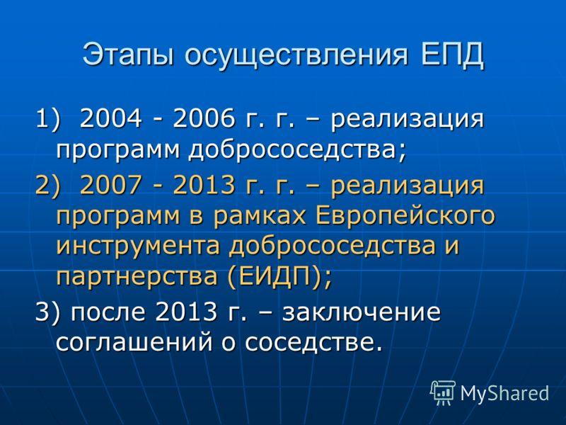 Этапы осуществления ЕПД 1) 2004 - 2006 г. г. – реализация программ добрососедства; 2) 2007 - 2013 г. г. – реализация программ в рамках Европейского инструмента добрососедства и партнерства (ЕИДП); 3) после 2013 г. – заключение соглашений о соседстве.
