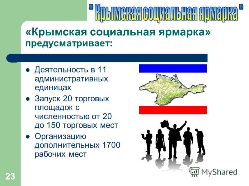 «Крымская социальная ярмарка» предусматривает: Деятельность в 11 административных единицах Запуск 20 торговых площадок с численностью от 20 до 150 торговых мест Организацию дополнительных 1700 рабочих мест 23