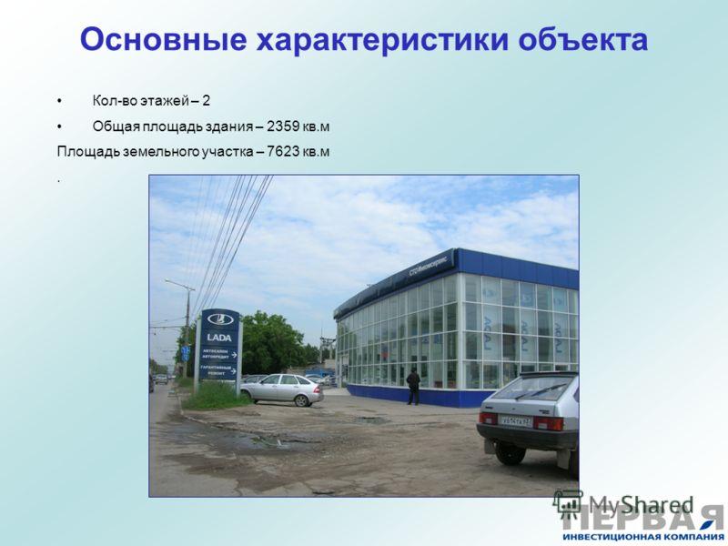 Основные характеристики объекта Кол-во этажей – 2 Общая площадь здания – 2359 кв.м Площадь земельного участка – 7623 кв.м.