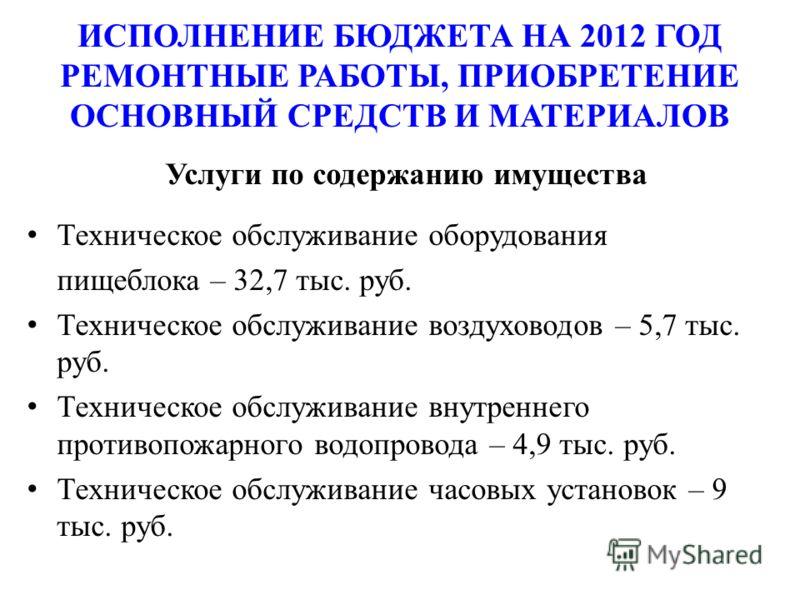 ИСПОЛНЕНИЕ БЮДЖЕТА НА 2012 ГОД РЕМОНТНЫЕ РАБОТЫ, ПРИОБРЕТЕНИЕ ОСНОВНЫЙ СРЕДСТВ И МАТЕРИАЛОВ Услуги по содержанию имущества Техническое обслуживание оборудования пищеблока – 32,7 тыс. руб. Техническое обслуживание воздуховодов – 5,7 тыс. руб. Техничес