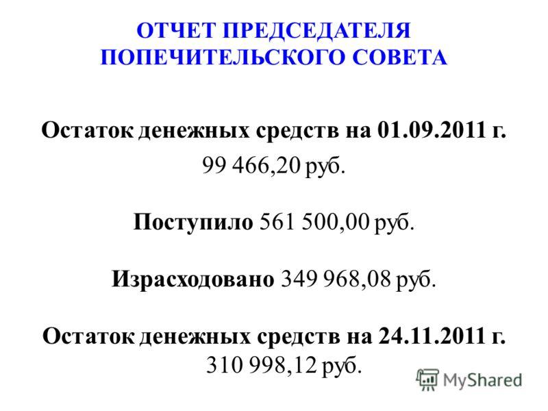 Остаток денежных средств на 01.09.2011 г. 99 466,20 руб. Поступило 561 500,00 руб. Израсходовано 349 968,08 руб. Остаток денежных средств на 24.11.2011 г. 310 998,12 руб. ОТЧЕТ ПРЕДСЕДАТЕЛЯ ПОПЕЧИТЕЛЬСКОГО СОВЕТА