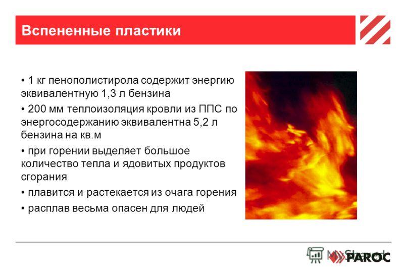 Вспененные пластики 1 кг пенополистирола содержит энергию эквивалентную 1,3 л бензина 200 мм теплоизоляция кровли из ППС по энергосодержанию эквивалентна 5,2 л бензина на кв.м при горении выделяет большое количество тепла и ядовитых продуктов сгорани