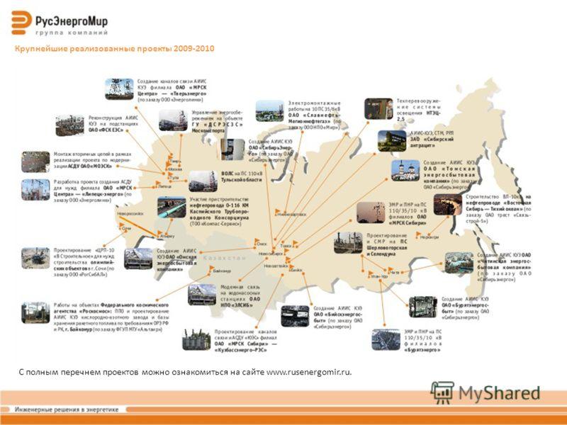 Крупнейшие реализованные проекты 2009-2010 С полным перечнем проектов можно ознакомиться на сайте www.rusenergomir.ru.