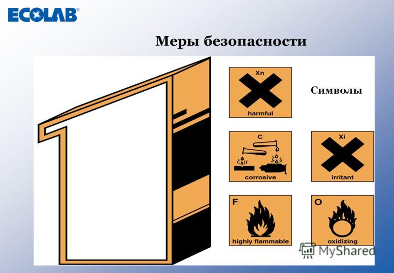 Меры безопасности Символы