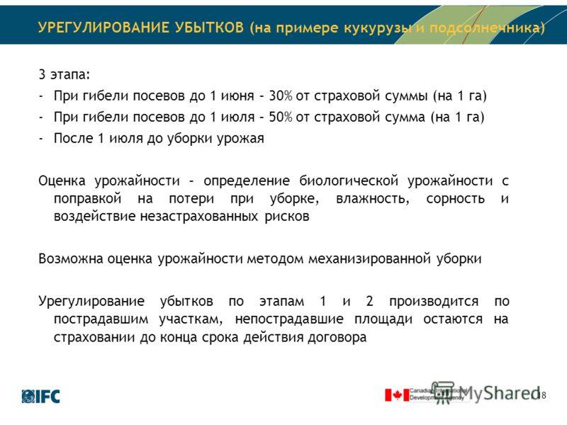 18 УРЕГУЛИРОВАНИЕ УБЫТКОВ (на примере кукурузы и подсолнечника) 3 этапа: -При гибели посевов до 1 июня – 30% от страховой суммы (на 1 га) -При гибели посевов до 1 июля – 50% от страховой сумма (на 1 га) -После 1 июля до уборки урожая Оценка урожайнос