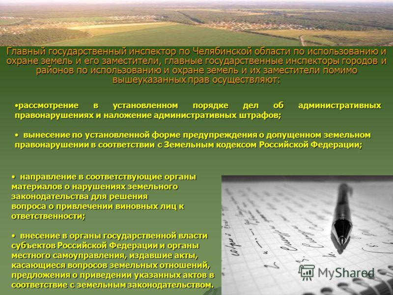 Главный государственный инспектор по Челябинской области по использованию и охране земель и его заместители, главные государственные инспекторы городов и районов по использованию и охране земель и их заместители помимо вышеуказанных прав осуществляют