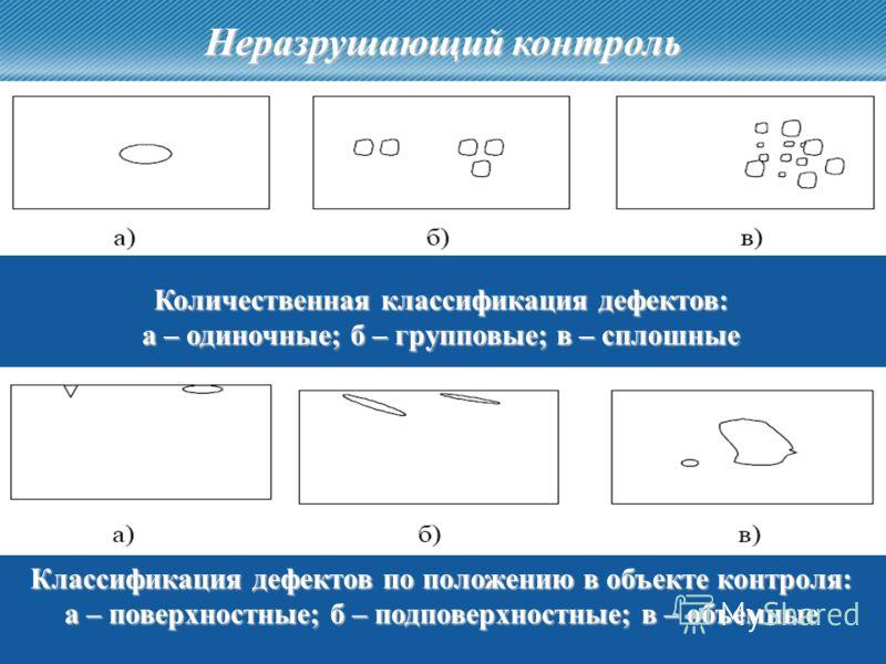 4 Количественная классификация дефектов: а – одиночные; б – групповые; в – сплошные Классификация дефектов по положению в объекте контроля: а – поверхностные; б – подповерхностные; в – объемные Неразрушающий контроль