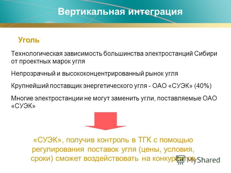 Технологическая зависимость большинства электростанций Сибири от проектных марок угля Непрозрачный и высококонцентрированный рынок угля Крупнейший поставщик энергетического угля - ОАО «СУЭК» (40%) Многие электростанции не могут заменить угли, поставл