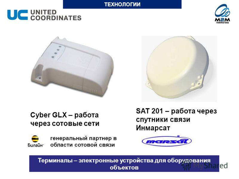 Cyber GLX – работа через сотовые сети Терминалы – электронные устройства для оборудования объектов SAT 201 – работа через спутники связи Инмарсат генеральный партнер в области сотовой связи